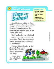 Make Predictions: Time for School Worksheet