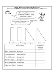 Make Shapes and Describe Their Features Worksheet