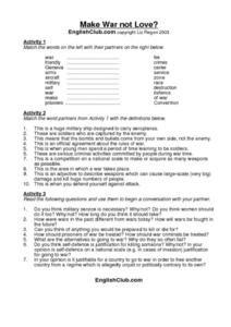 Make War, Not Love? Worksheet