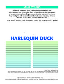 Make Words:  Harlequin Duck Lesson Plan