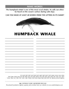 Make Words: Humpback Whale Lesson Plan