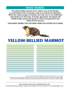 Make Words- Marmot Worksheet