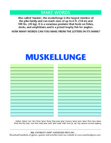 Make Words: Muskellunge Lesson Plan