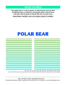 "Make Words Using the Letters in the Words ""Polar Bear"" Lesson Plan"