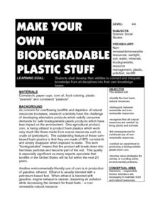 Make Your Own Biodegradable Plastic Stuff Lesson Plan