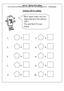 Making 100 By Adding Worksheet