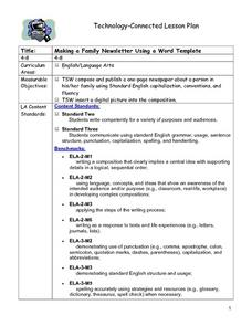 Making a Family Newsletter:  Using a Word Template Lesson Plan