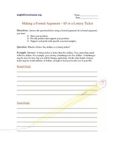 Making a Formal Argument $5 or a Lottery Ticket Worksheet