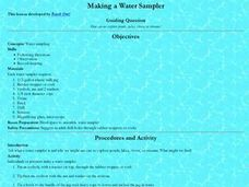 Making a Water Sampler Lesson Plan