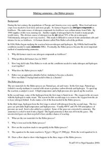 Making Ammonia - The Haber Process Worksheet