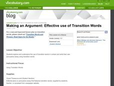 Making an Argument:  Effective use of Transition Words Lesson Plan