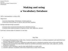 Making and Using a Vocabulary Database Lesson Plan