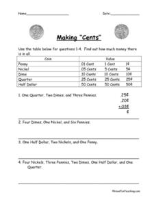 "Making ""Cents"" Worksheet"