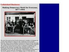 Making Democracy Work for Everyone, 1877-1904 Lesson Plan