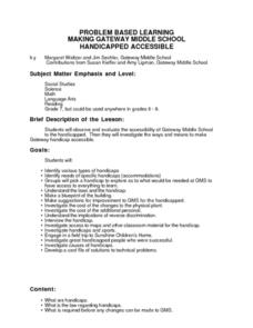 Making Gateway Middle School Handicapped Accessible Lesson Plan