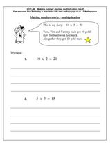 Making Number Stories: Multiplication Worksheet
