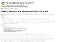 Making Sense of the Employee Free Choice Act Lesson Plan