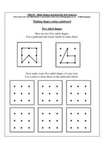 Making Shapes Using a Pinboard Worksheet