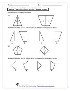 Making Two-Dimensional Shapes Kindergarten - 1st Grade Worksheet ...