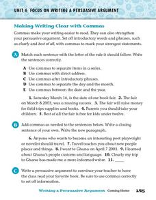 Making Writing Clear with Commas Worksheet
