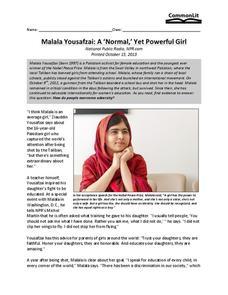 "Malala Yousafzai: A ""Normal,"" Yet Powerful Girl 7th - 10th ..."