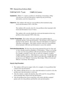 Mammal Story Problems (Math) Lesson Plan