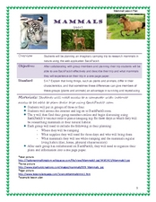 Mammals Lesson Plan