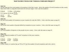 Map Instructions for Indiana Tornado Project Lesson Plan