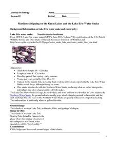 Maritime Shipping on the Great Lakes and the Lake Erie Water Snake Worksheet