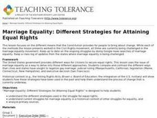 Marriage Equality: Different Strategies for Attaining Equal Rights Lesson Plan
