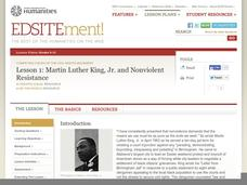 """martin luther king jr and nonviolent resistance essay A further dimension of the nonviolent approach taught by martin luther king was the inspiration derived from gandhi's nonviolent movement for self-determination against british colonialism in his american dream speech martin luther king says """"we will meet your physical force with soul force """"."""