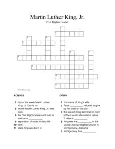 Martin Luther King, Jr. Crossword Worksheet