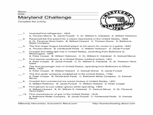 Maryland Challenge Worksheet