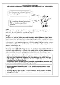Mass and Weight Lesson Plan