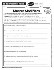 Master Modifiers Worksheet