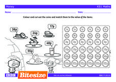 Match the Coins to the Purchased Item: UK Pence Worksheet