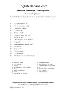 Match the Derbyshire Slang Phrases Worksheet