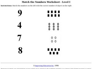 Match the Numbers: Level I Worksheet