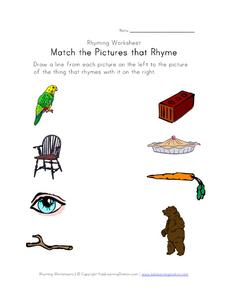 Match the Pictures That Rhyme: Part 4 Worksheet