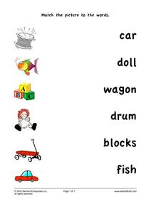 Match the Pictures to the Words Worksheet