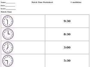 Match Time Worksheet Worksheet