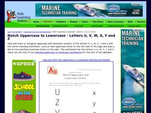 Match Uppercase to Lowercase- Letters U, V, W, X, Y and Z Worksheet