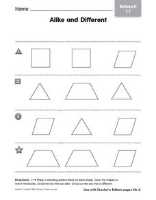 Matching: Alike and Different Worksheet