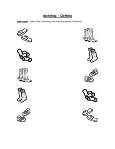 Matching- Clothing (Black Line Copy) Worksheet