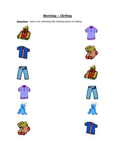 Matching- Clothing (Color Copy) Worksheet