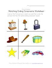 Matching Ending Consonants Worksheet Worksheet