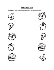 Matching- Food (Black Line Copy With Cherries) Worksheet