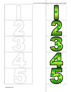 Matching Number Cut And Paste--  St. Patrick's Motif Worksheet