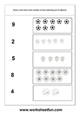 Matching Pictures and Numbers Worksheet