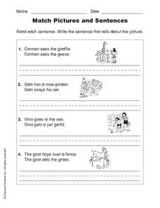 Matching Pictures and Sentences 2 Worksheet